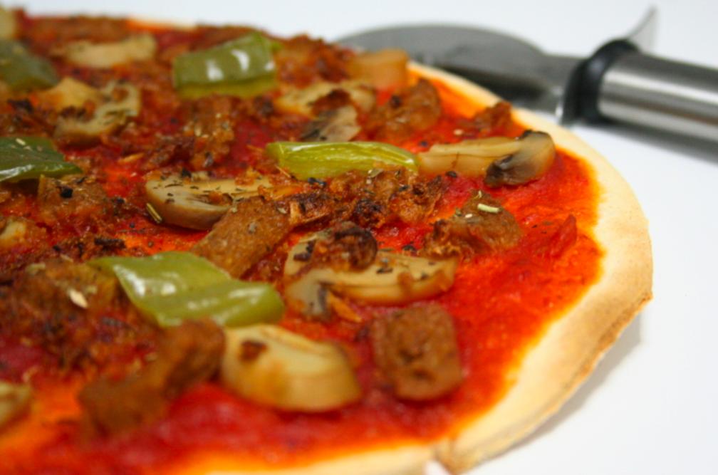 Pizza de Seitán y Champiñones