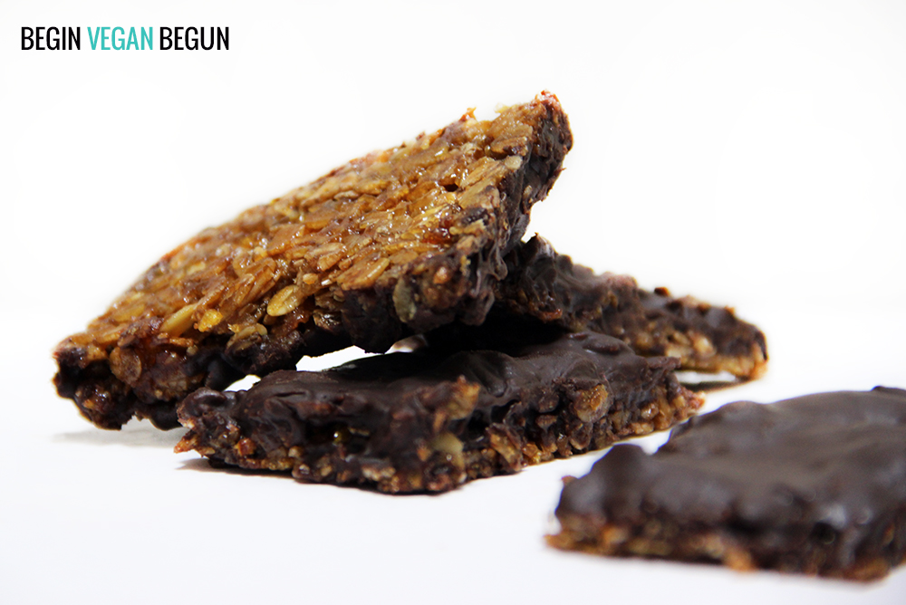 flapjacks veganos con chocolate