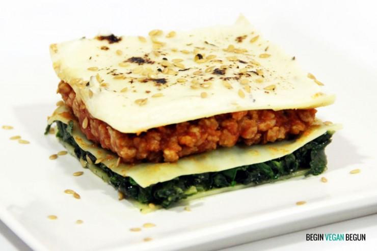 receta de lasaña vegana de espinacas y soja