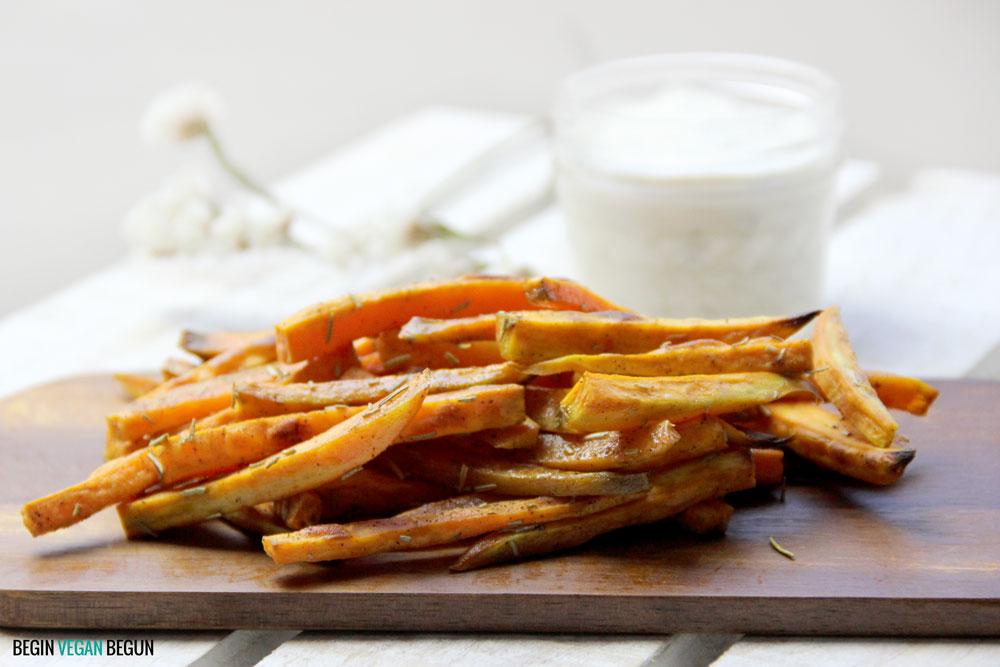 chips de boniato con salsa ranch