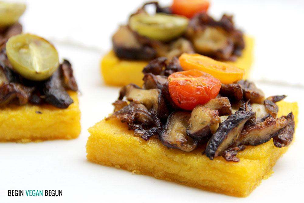 Polenta al horno con shiitake