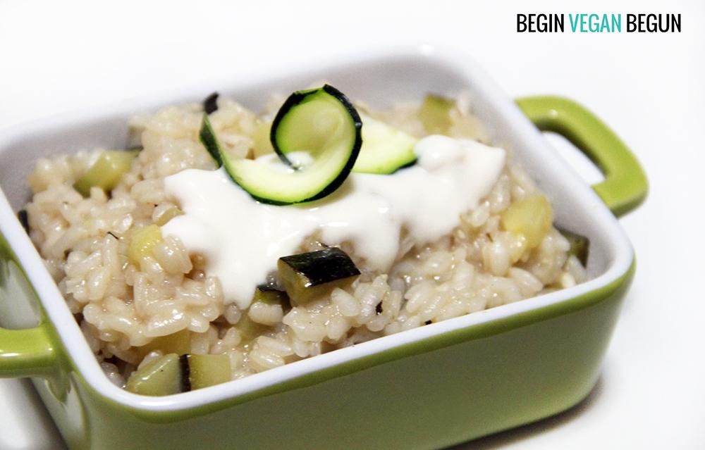 risotto de calabacin vegano