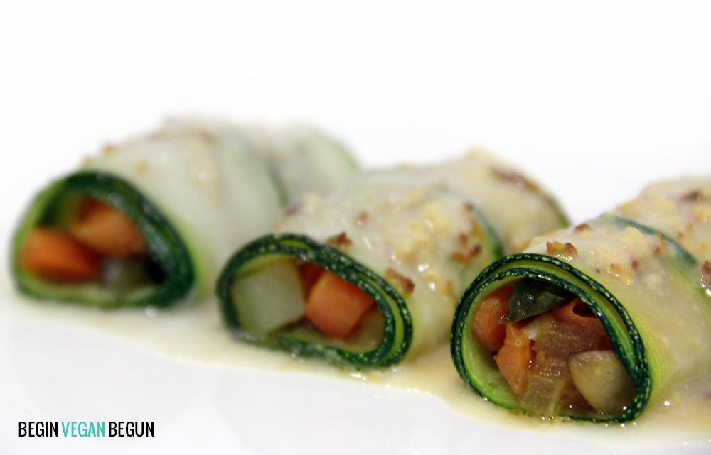 canelones veganos de calabacín