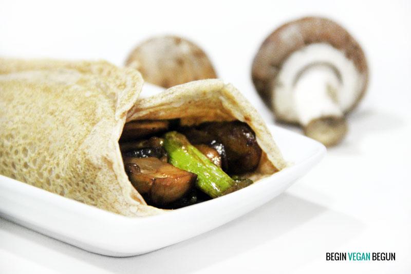 Receta de crepes veganos salados con setas y trigueros