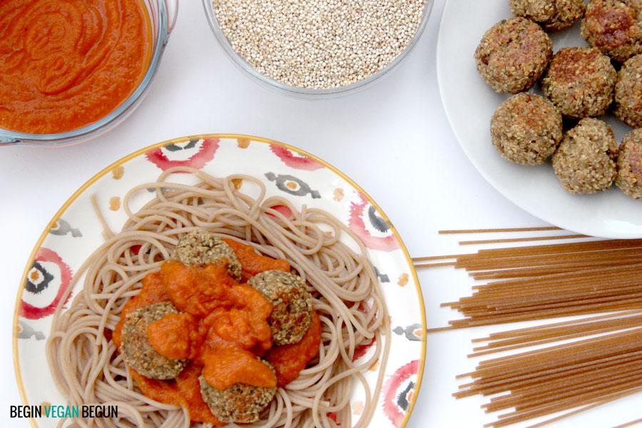 Albóndigas de quinoa con espaguetis