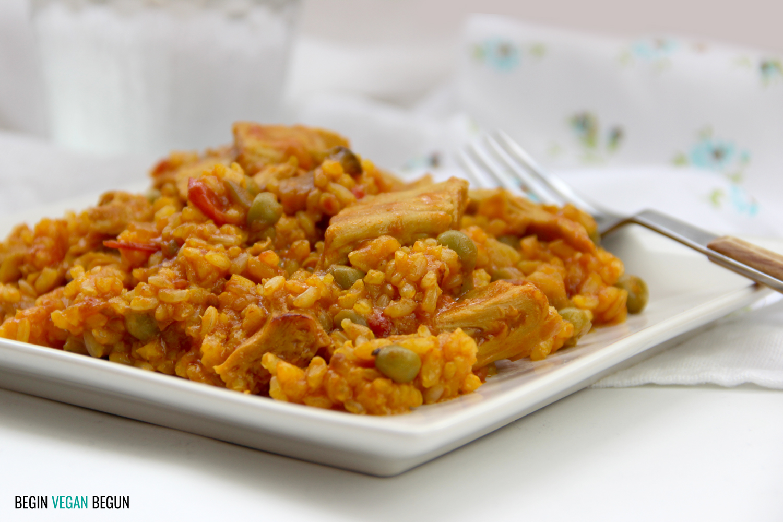 arroz con heura, proteina vegana