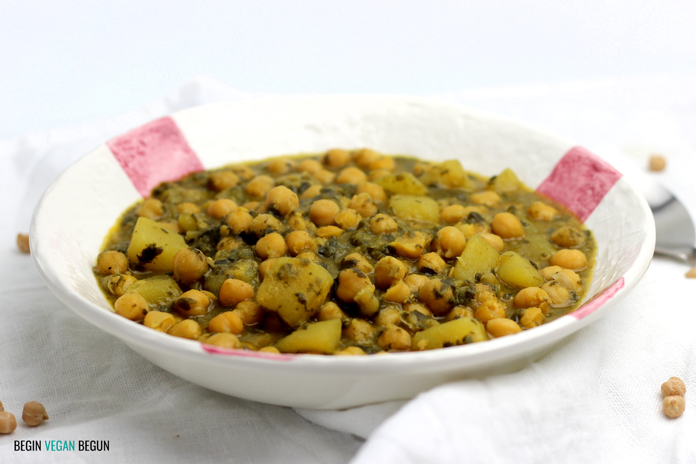 Garbanzos con espinacas receta vegana